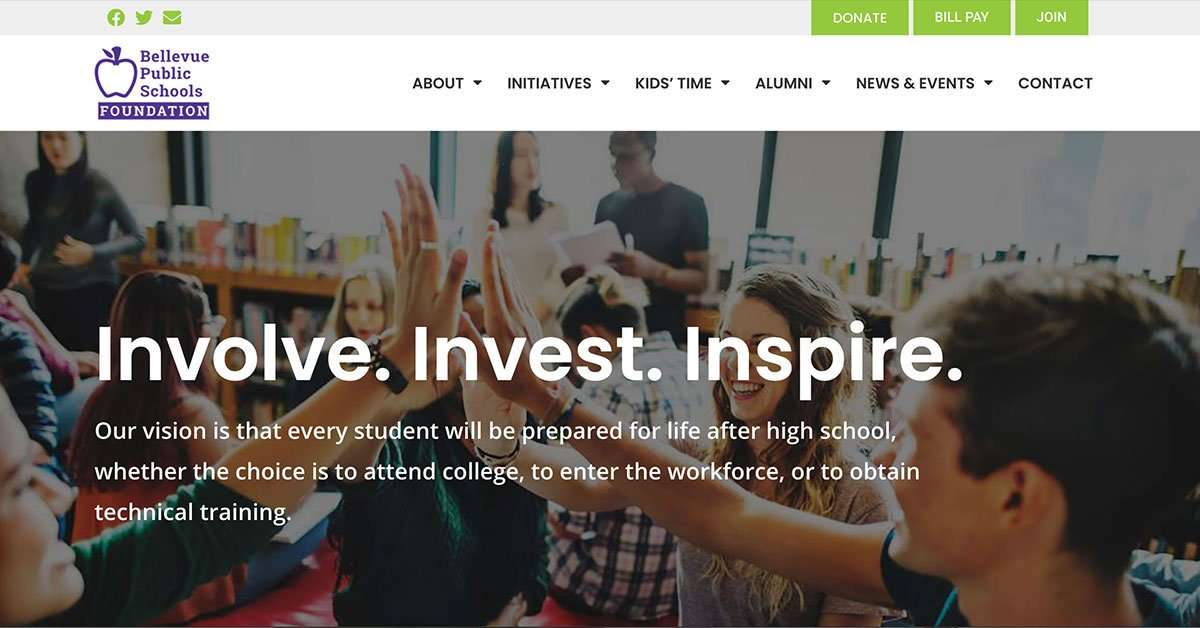 bellevue public schools foundation website home page header
