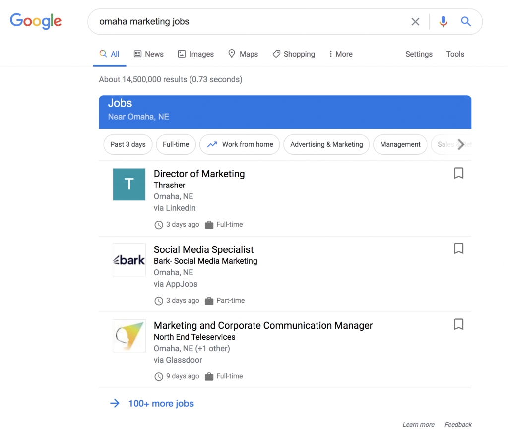 Google search results page for Omaha marketing jobs