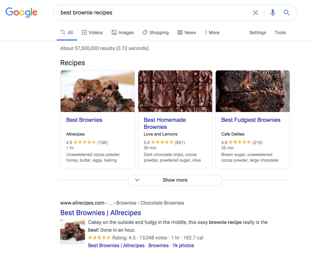 Google search results page for best brownie recipes
