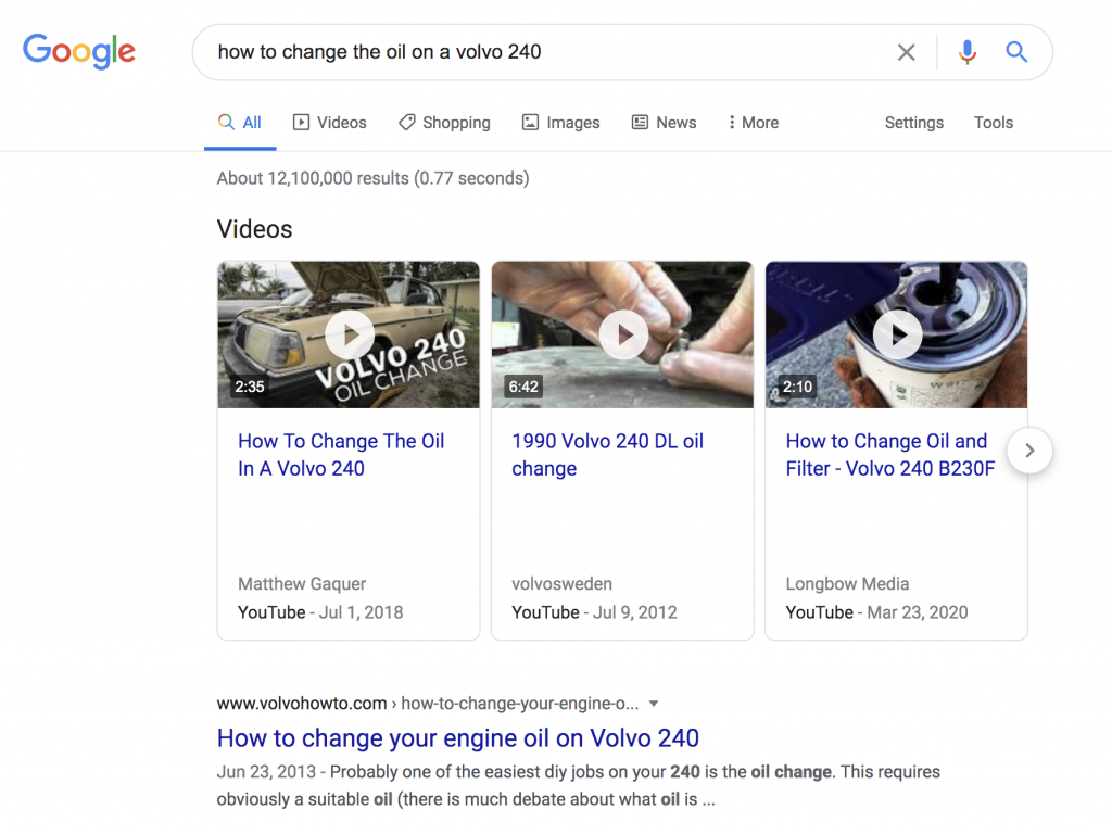 Google search results page for how to change oil on a Volvo 240