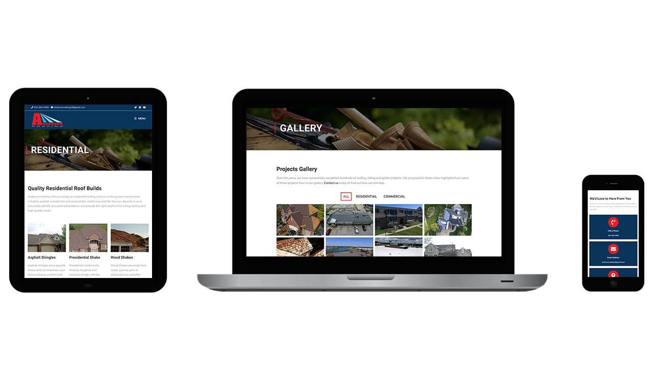 anderson roofing website desktop, tablet and mobile views