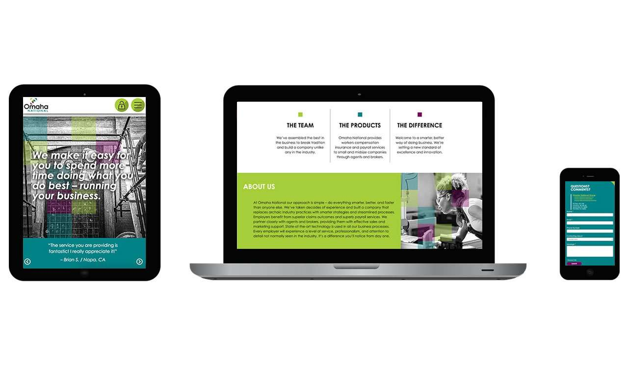 omaha national website desktop, tablet and mobile view